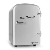Klarstein Mini Taverna mobiler Minikühlschrank kleiner 4L Kühlschrank Kühlbox für Getränke (4 Liter, Tragegriff, Netz- oder via 12V-Betrieb, Regaleinschub) silber - 1